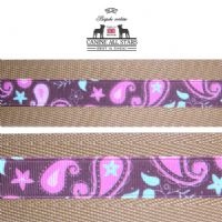 MARTINGALE DOG COLLAR - PINK AND MINT PAISLEYS ON CHOCOLATE BROWN (RIBBON 16mm)